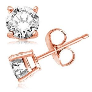 ♥️ Rose Gold Over Sterling Silver CZ Stud Earrings